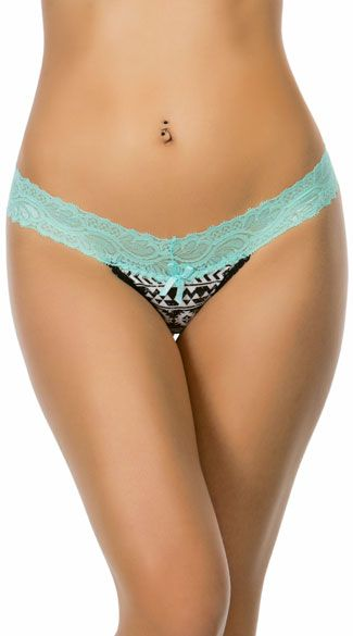 This colorful Yandy Collection panty features an aqua lace waistband, a satin bow accent, a black and white geometric design, and a thong cut back. Mesmerized Aqua Lace Thong, Aqua Lace Panty, Geometric Thong #thongs #5for$20panties #5for$20thongs