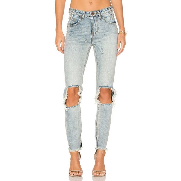 One Teaspoon High Waisted Freebird Jeans in Whiskey (255 BAM) found on Polyvore featuring women's fashion, jeans, white ripped skinny jeans, white ripped jeans, white skinny jeans, white high-waisted jeans and super skinny jeans
