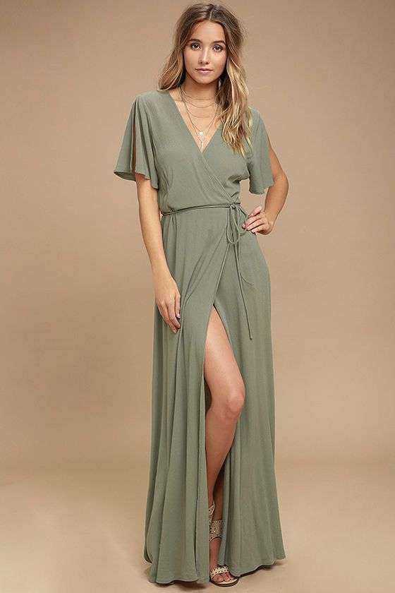 We're forever grateful we found the Much Obliged Washed Olive Green Wrap Maxi Dress! Gauzy woven rayon drapes into a sultry surplice bodice, framed by fluttering short sleeves. Wrapping maxi skirt secures via hidden, internal ties and an adjustable waist tie.