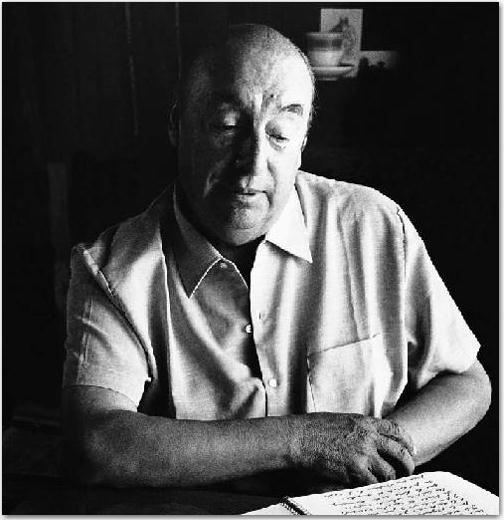 Pablo Neruda, de nacimiento Ricardo Eliécer Neftalí Reyes Basoalto (Parral, 12 de julio de 1904 – Santiago, 23 de septiembre de 1973 )
