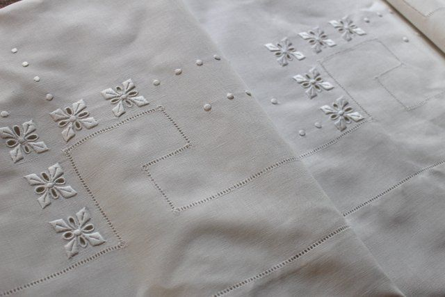 linge ancien drap ancien brod et monogramme 2 embroidery richelieu cutwork whitework. Black Bedroom Furniture Sets. Home Design Ideas