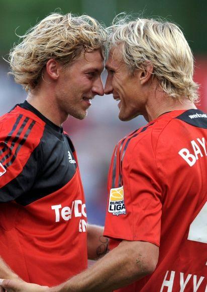 Photo of Stefan Kießling & his friend football player  Sami Hyypiä - Bayer Leverkusen
