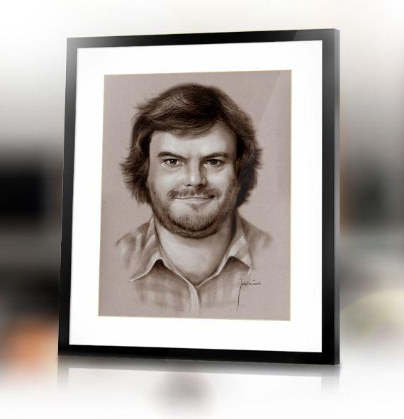 Jack Black custom handmade portrait from photo by Jacek Jaśkowiak PortraitsBuy