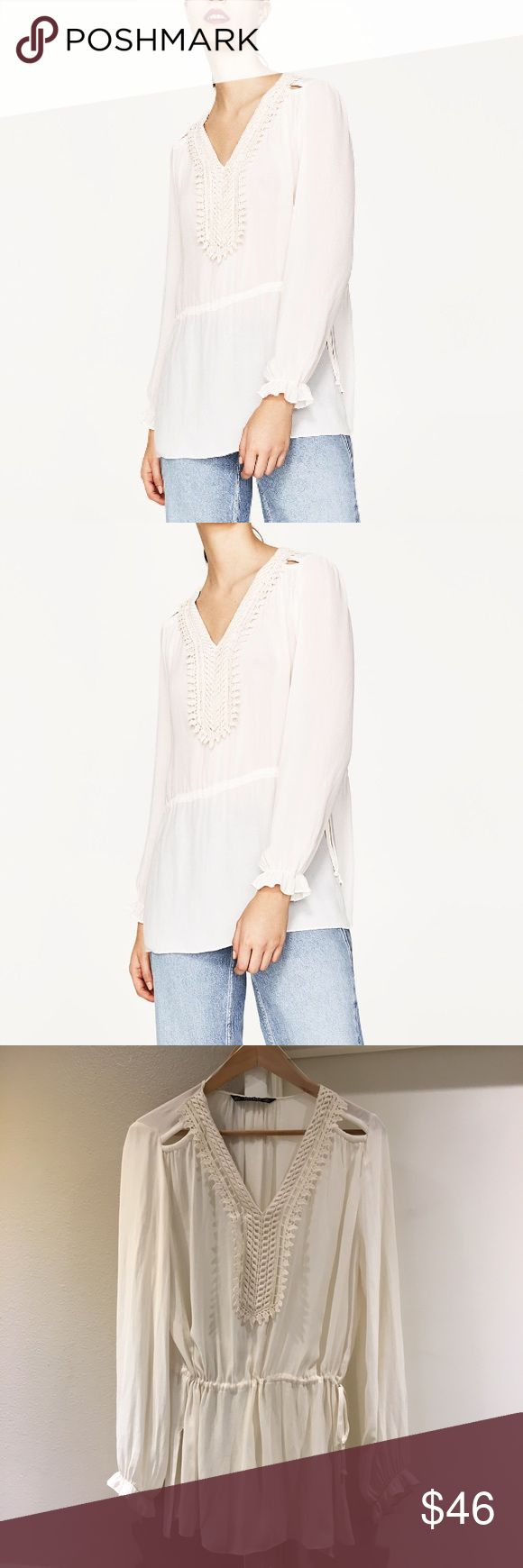 Zara Flowing blouse with bib front Zara flowing blouse with bib front - gently worn, lightweight. ((No trades or PP )) Price is final Zara Tops Blouses