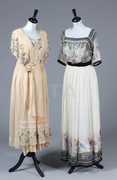A printed and beaded ivory chiffon dress, circa 1914, the floral printed highlighted with beads, with black satin belt to raised waistline; together with a pale peach tulle and organza sequined gown, labelled 'Salomon Davidsen, Copenhagen', c.1914