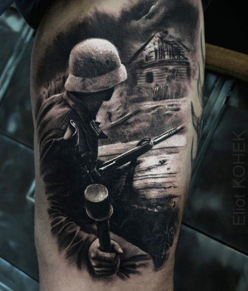 Realistic War Tattoo