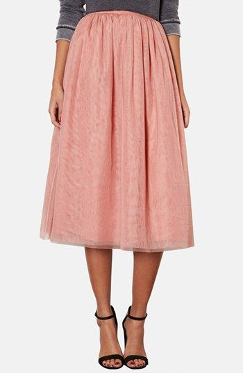 Pleated Mesh Midi Skirt