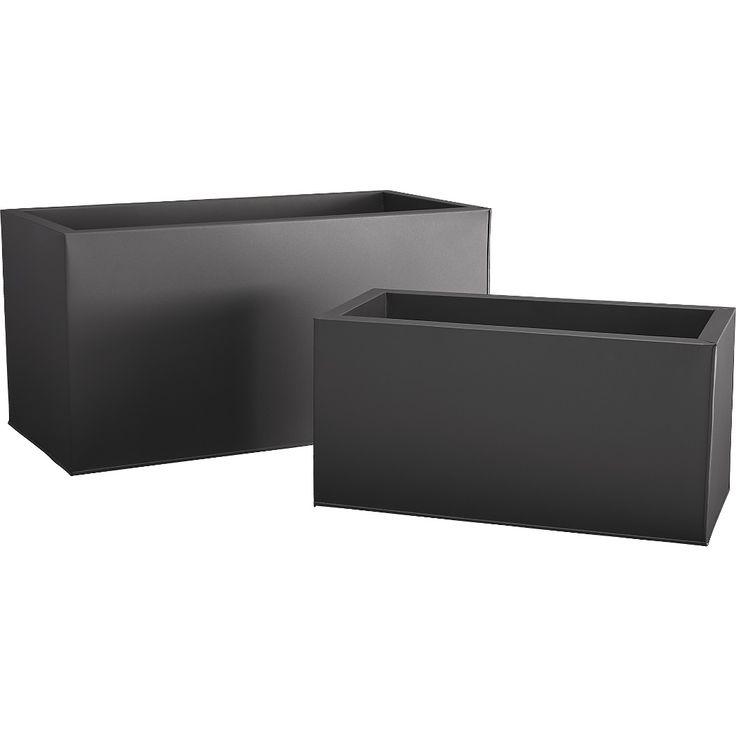 Shop blox rectangular galvanized charcoal planters.   Charcoal planter squares up sleek and modern.  Protected for indoor and outdoor settings, matte-finished galvanized steel plays up refined industrial to dramatic effect.