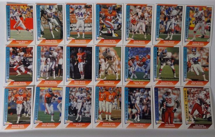 1991 Pacific Denver Broncos Team Set of 21 Football Cards #DenverBroncos