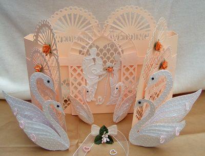 SVG File Template Cascding Wedding Swan Door Card