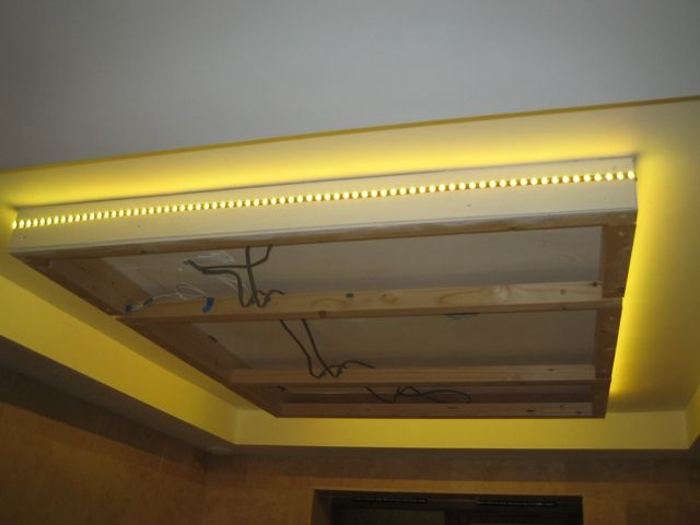 Led strip lights for ceiling : Led strip light around suspended ceiling home