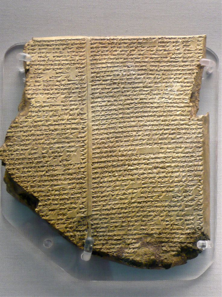"""The most famous cuneiform tablet from Mesopotamia The Flood Tablet, relating part of the Epic of Gilgamesh, From Nineveh, northern Iraq, Neo-Assyrian, 7th century BC. """" The Assyrian King Ashurbanipal..."""