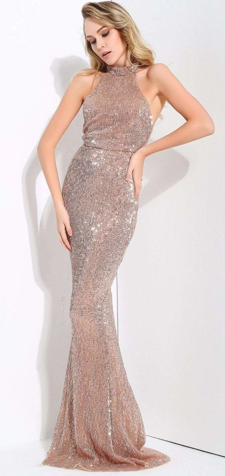 Gold Maxi Long Sequin Dress Halter Mermaid Cocktail Party Prom Wedding Guest Bridesmaid Rslm1079 Long Sequin Dress Sequin Bodycon Dress Maxi Dress Evening [ 1556 x 736 Pixel ]