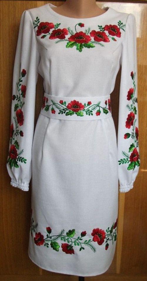 Купить женское вышитое платье - красные маки