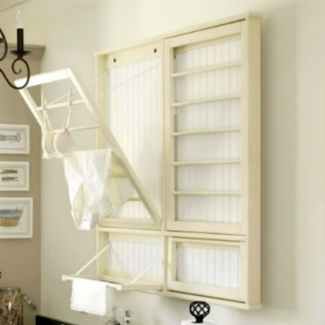 space-saving laundry rack to be placed on the wall at the head of the tub/shower