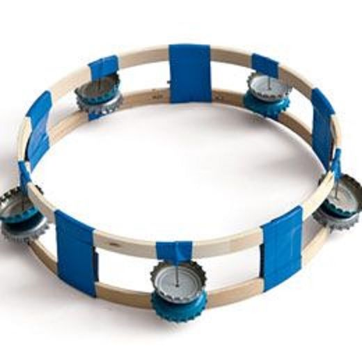 This homemade tambourine can be made with simple things at home which include soda bottle caps. As you shake the tambourine, the caps will strike each other making a great sound.