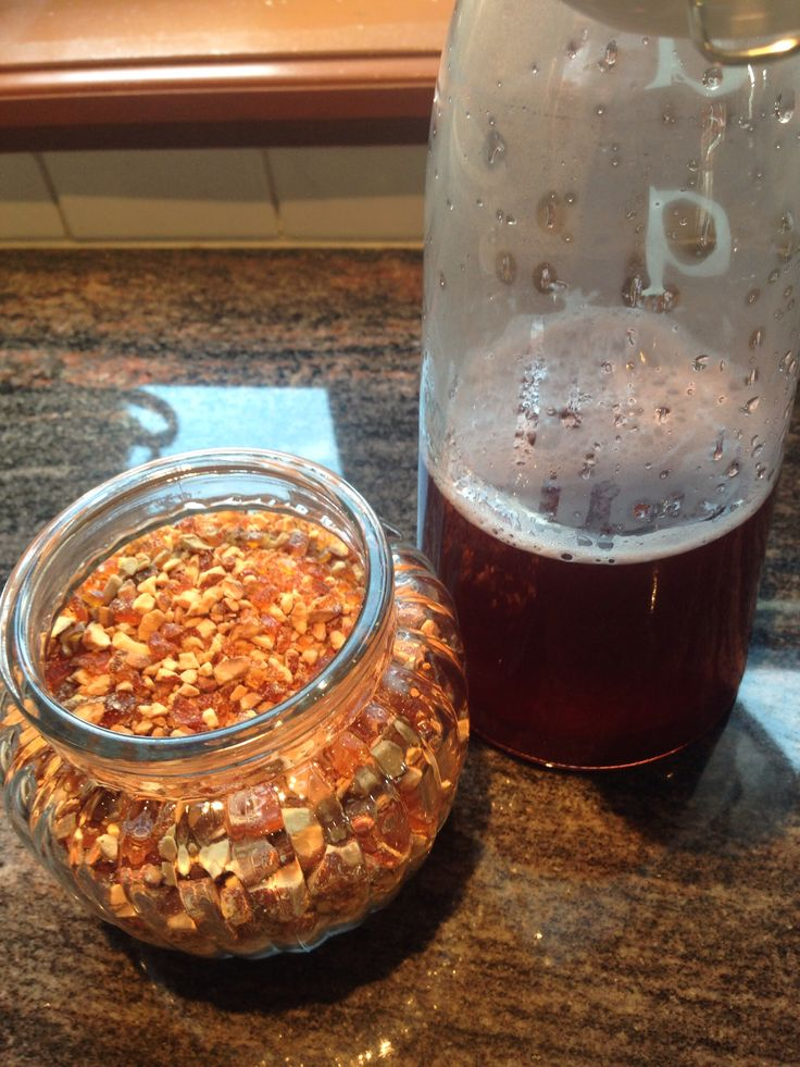 Homemade Strawberry syrup and brittle grit , yummi