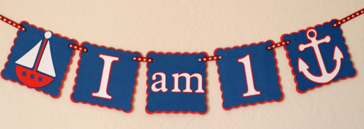 """Happy Birthday Nautical """"I am 1"""" Banner / Photo Prop - Birthday Party Sign, Partyware, Party decoration. $12.00, via Etsy."""