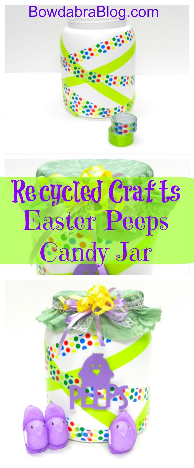 Store your Easter peeps in an airtight container using a recycled plastic jar with lid and decorate the container with a Bowdabra bow.