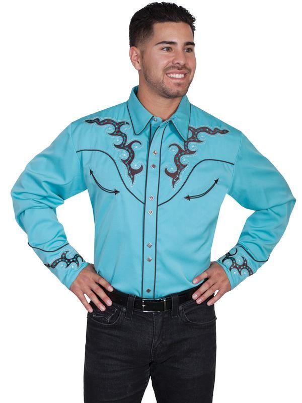 Scullyová Pánske Vintage Western košele: bootovacie Stitch Stars Turquoise S-2X Big / Tall 3X-4X