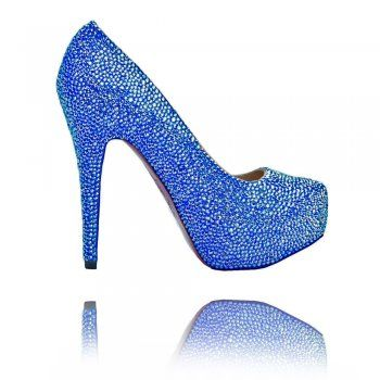 Crystal Couture Collection Crystal Couture Glitzy Shoes Electric Blue
