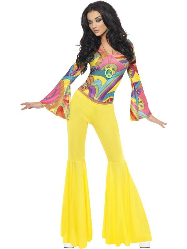 "Clothing Styles Of The 1970s were bell bottoms and platform shoes. This was also the ""hippie"" period/era hence the. swirly colorful shirt."
