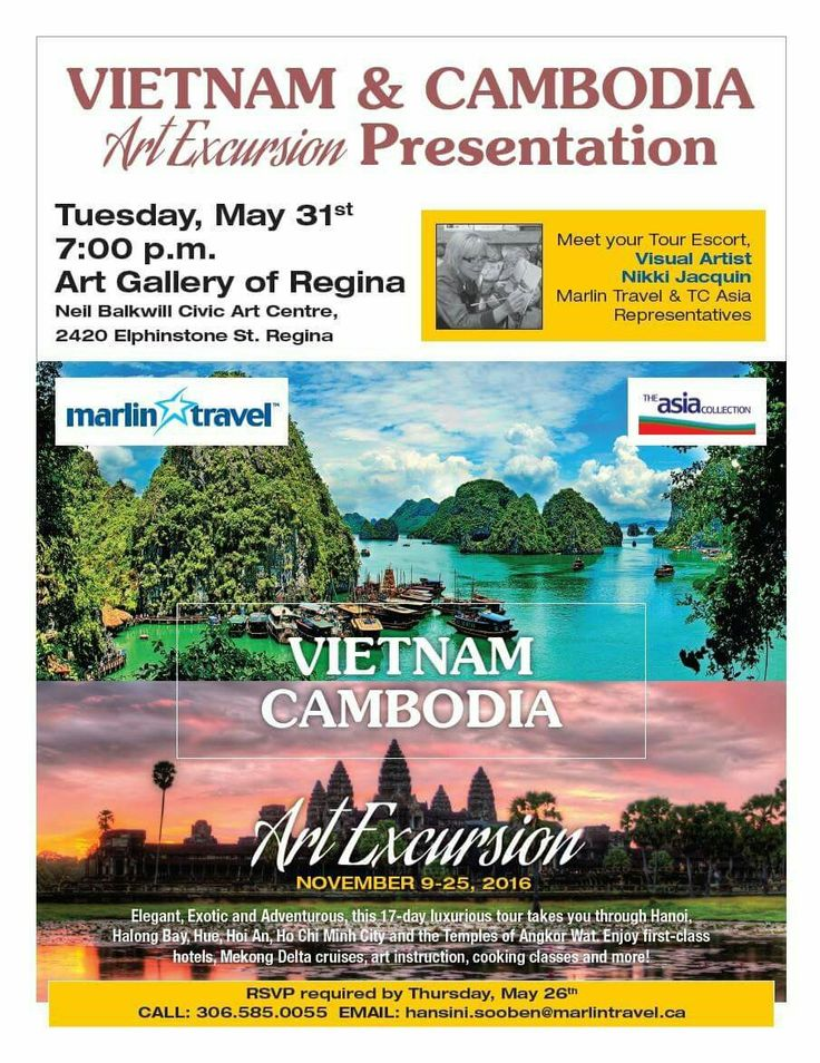 Hope you'll join me at this #Regina information night. We will be talking about #travel and #painting in this very exotic location #Vietnam & #Cambodia.