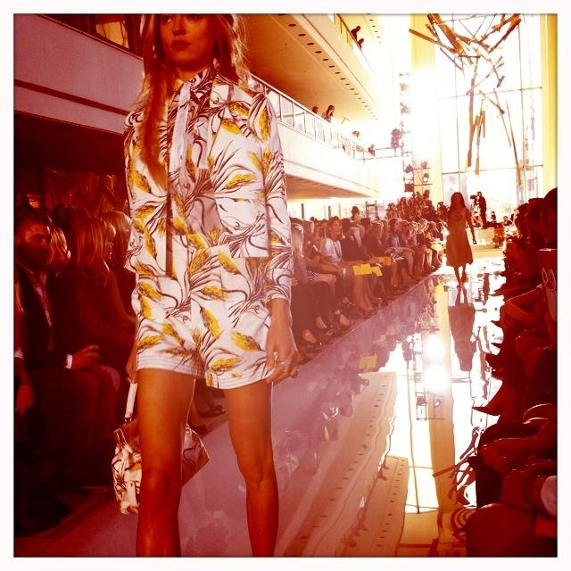 A printed short suit at the Tory Burch show! i'm obsessed with short suits now thank you  MBFW