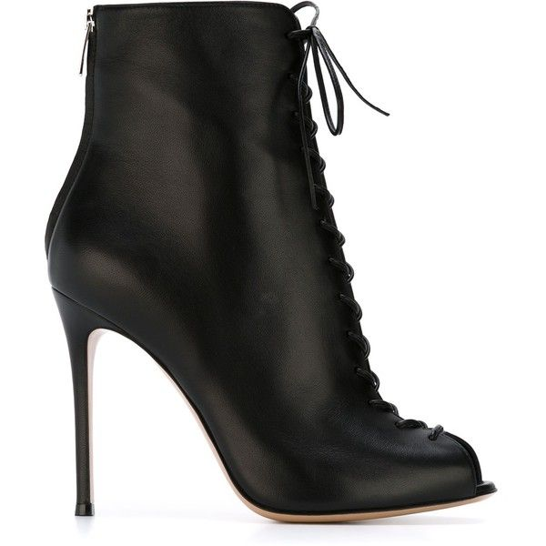 Gianvito Rossi Suede Laced-Up Ankle Boots (3.525 RON) ❤ liked on Polyvore featuring shoes, boots, ankle booties, black, ankle boots, peep toe bootie, black peep toe booties, suede lace up booties and black ankle boots
