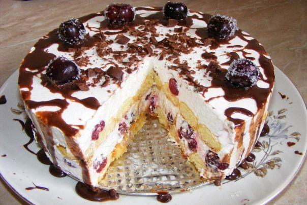Ingrediente :   Pentru blat si crema tort:  250 g piscoturi de sampanie 300 ml frisca lichida 170 g de unt 10 g de gelatina (foite) 170 g de zahar 300 g de smantana 300 g de iaurt 500 g de visine (visine congelate sau proaspete)   Pentru sirop...