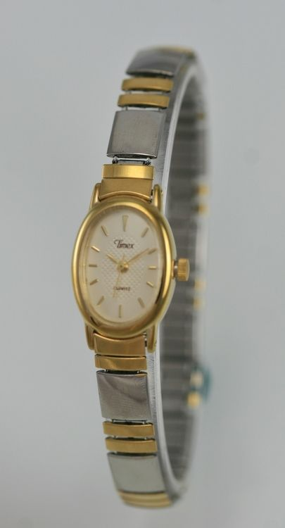 Timex Watch Women Beige Stainless Steel Silver Gold Stretch Water Resist Quartz