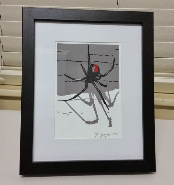 Black Beauty - original hand pulled block print - redback spider - 11cm x 14.5cm image