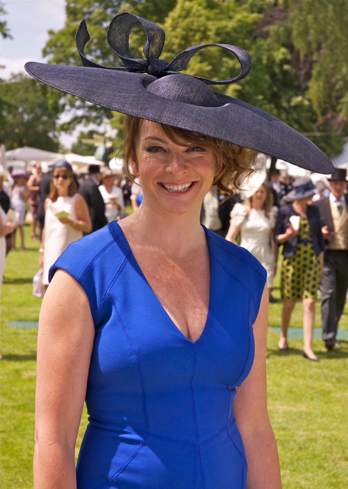 Suzy Perry wearing a dress by Amanda Wakeley, hat by Stephen Jones. Royal Ascot 2011.
