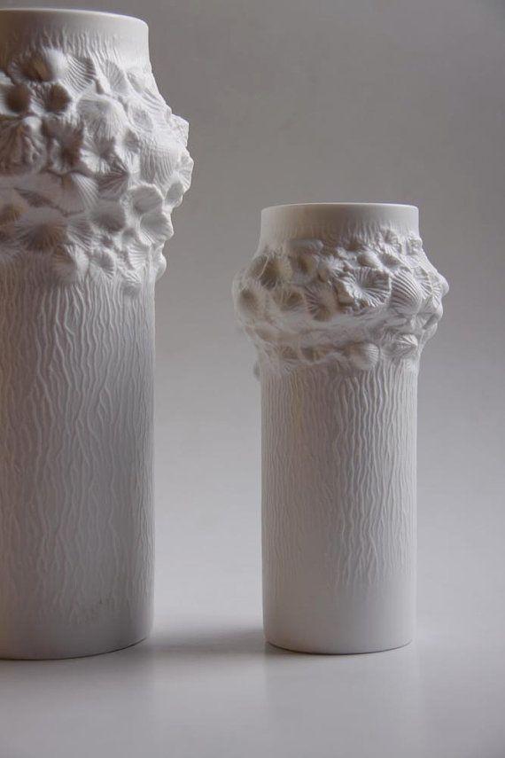 "Vintage Set of Two Op Art Kaiser ""Fossil"" Vases"