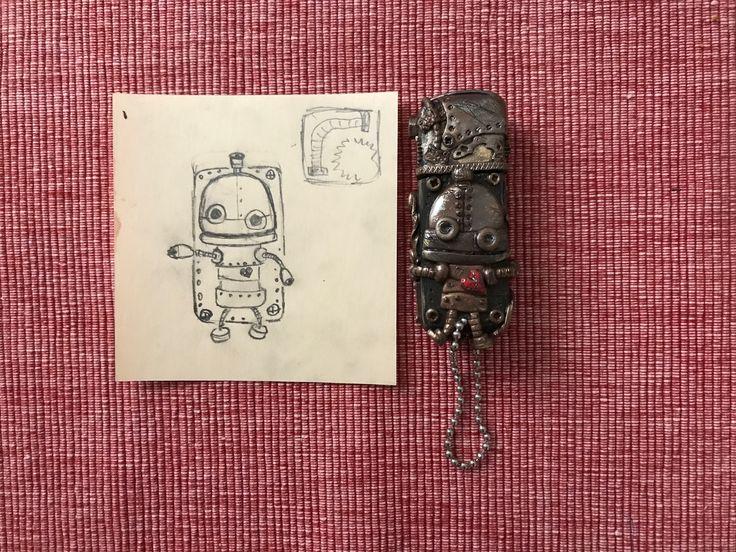 Steampunk.Machinarium.USB Flash drive.Polymer clay