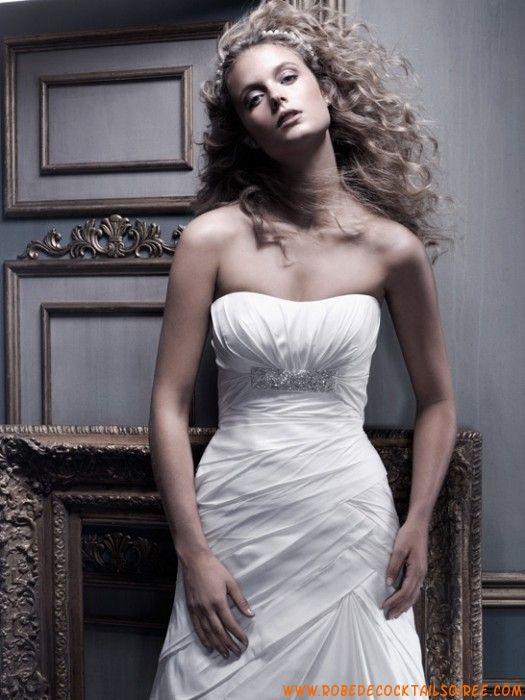 Robe bustier blanche 2013 glamour cristaux plissé robe de mariée taffetas
