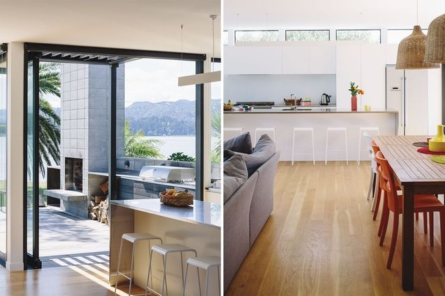 The kitchen opens up to both the front and back outdoor areas.