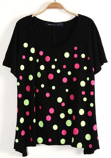 #SheInside Black Batwing Short Sleeve Polka Dot T-Shirt