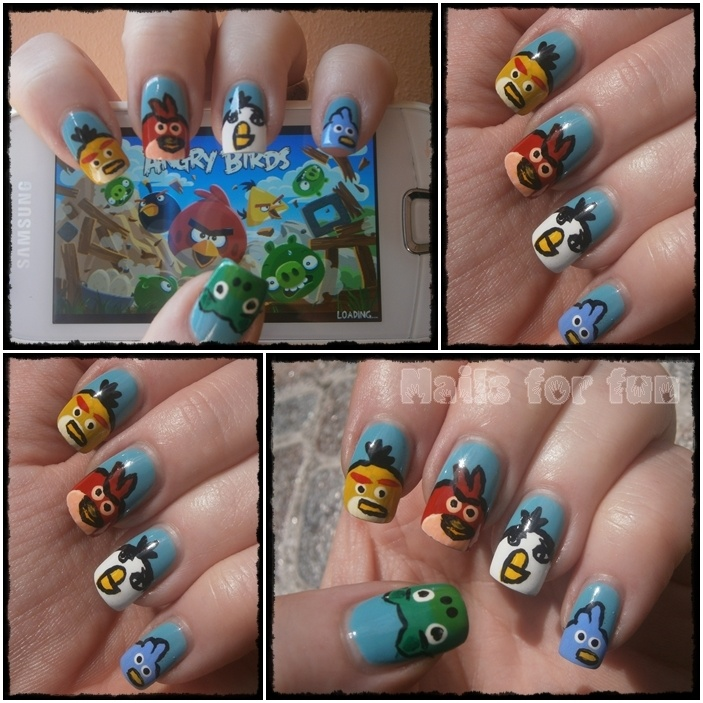 Angry birds: Angry Birds Mi, Artists Nails, Nails Art, Gorgeous Manicures Nails, Girli Things, Fiction Nails, Art Tho, Funky Nails, Birds Mi Daughters