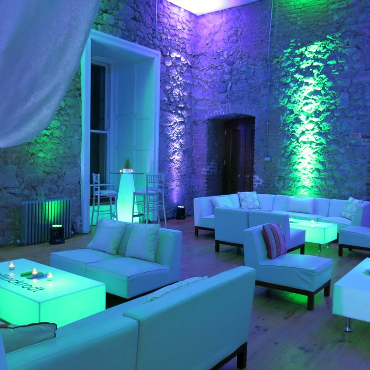 Cool lighting designs at a corporate event in Powerscourt House. We love the LED Furniture. Visit www.gotchacovered.ie for more