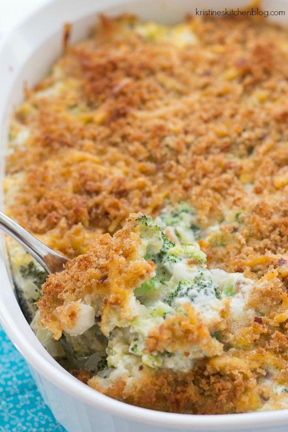 Cheesy, creamy broccoli casserole with a cheesy breadcrumb topping. | Kristines Kitchen