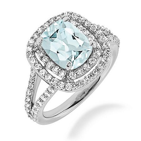 Blue Aquamarine Amp Diamond Double Halo Cocktail Ring Split