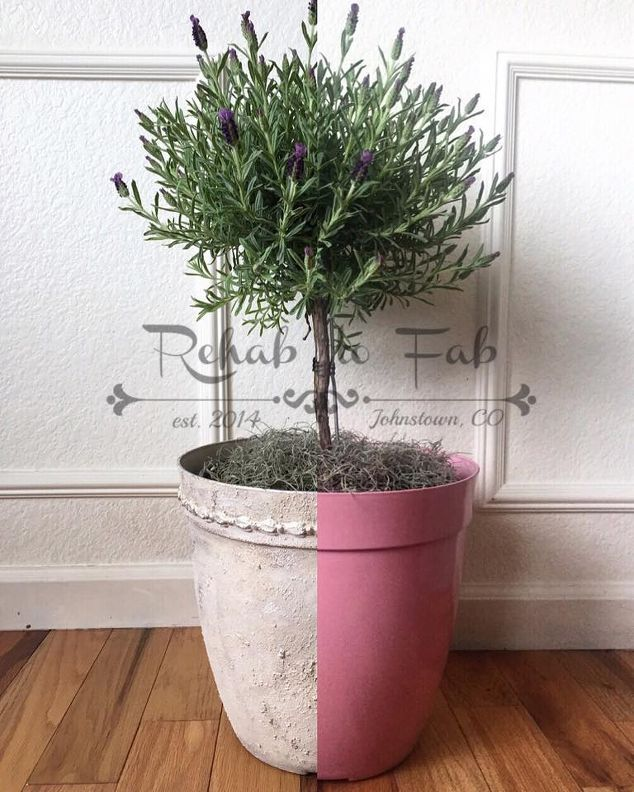 DIY French-inspired planter from a plastic pot.