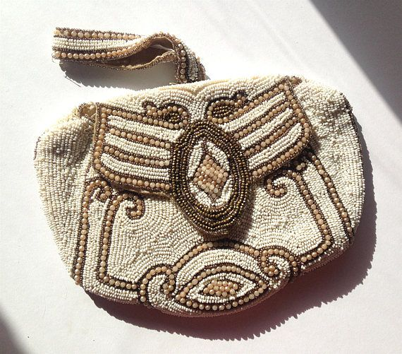 Franse antieke verfraaid Beaded Clutch tas 1880-1915 bruiloft Clutch tas Art Nouveau