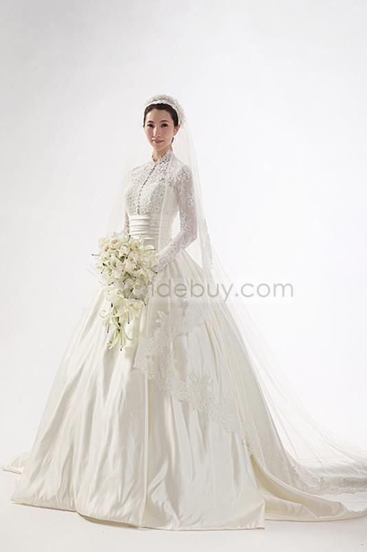 Gorgeous A-line High-neck Long Sleeves Floor-length Chapel Train Wedding Dress : Tidebuy.com