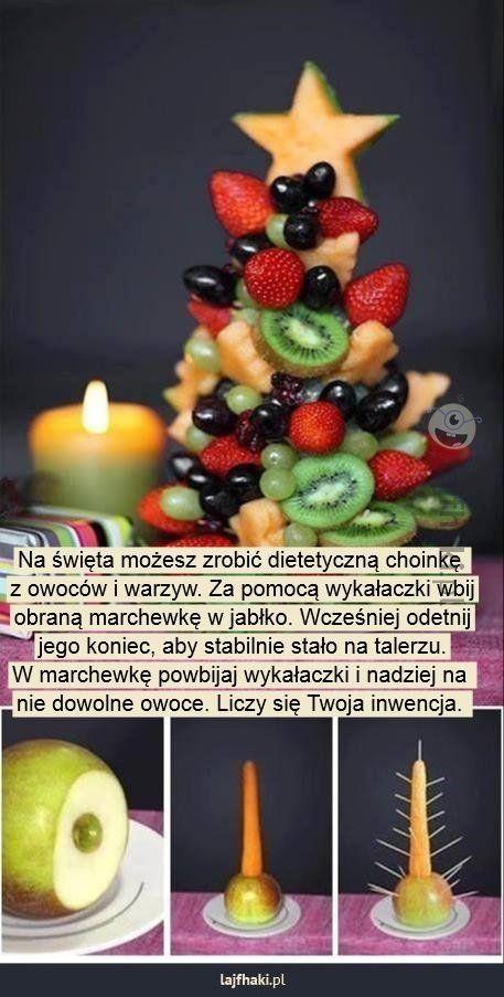 Owocowa choinka - Na święta możesz zrobić dietetyczną choinkę  z owoców i warzyw. Za pomocą wykałaczki wbij obraną marchewkę w jabłko. Wcześniej odetnij jego koniec, aby stabilnie stało na talerzu. W marchewkę powbijaj wykałaczki i nadziej na  nie dowolne owoce. Liczy się Twoja inwencja.