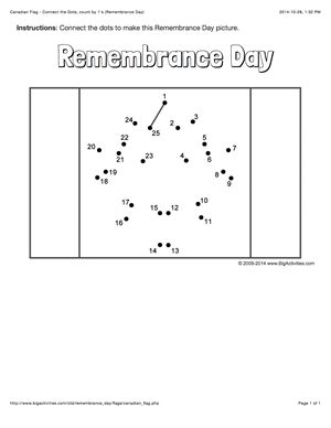 Remembrance Day connect the dots page with the Canadian flag. Multiple choices (dot to dot puzzle)