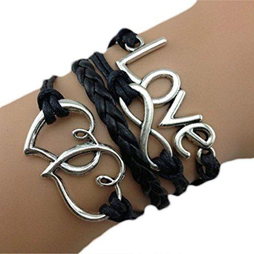 #9: Fabulous   Braccialetto Infinity Karma, con motivo a cuore e scritta Love, cordoncino nero