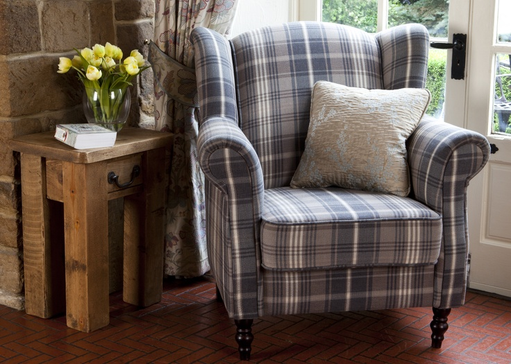 Nathan wing armchair in blue tartan available now in for Blue living room chairs