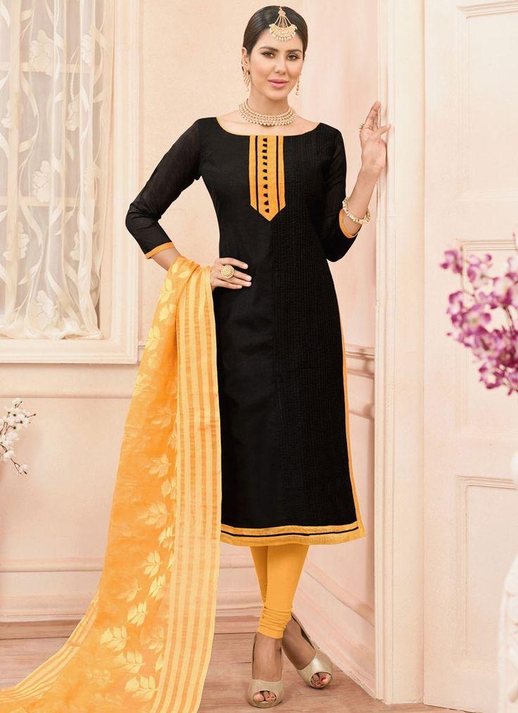 Online shopping for designer salwar kameez and salwar suits.Shop this chanderi cotton black churidar suit.